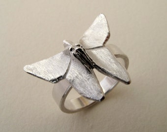 Origami Jewelry Silver Butterfly Ring Origami Butterfly