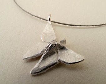 Origami Jewelry Silver Butterfly Pendant Origami Butterfly