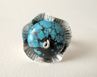 Turquoise Ring Sterling Silver Ring With Natural Turquoise Blue Turquoise Jewelry