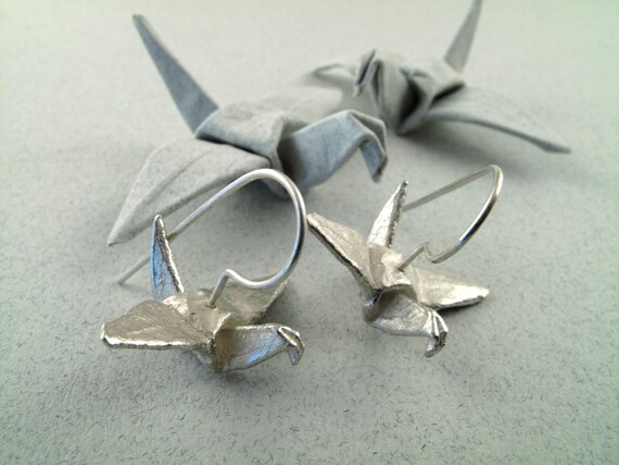 Origami Jewelry Silver Crane Earrings Origami Crane Origami Bird