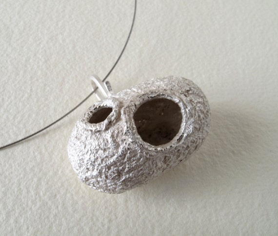 Silver cocoon pendant