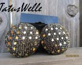 Glam Black Ribbon Gold Sparkles Post Earrings