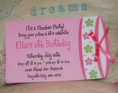 7 birthday party invitations and 1 banner Slumber party birthday invitations by Palm Beach Polkadots