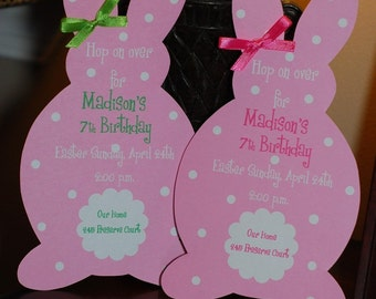 Easter Bunny Birthday Invitation or Easter Luncheon Brunch Invitation