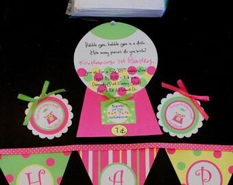 Gumball Gum ball  Bubble Gum Birthday Invitation Invite