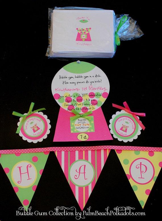 10 Gumball Gum ball  Bubble Gum Birthday Invitation Invite