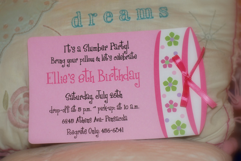 10 birthday party invitations. Slumber party birthday