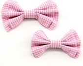 Father and Son Bow Tie Set - Rose Pink White Gingham Bowtie - Pre-tied or Freestyle