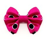 Bow Tie - Pink Black Polka Dot Bow Tie - Tring - Boys Bow Tie and Mens Bow Tie Sizes - Freestyle or Pre-tied