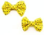 Father and Son Bow Tie Set - Yellow Black Dot Silk Bow Tie - Bacup - Matching Tie Set