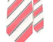 Father and Son Neck Tie Set - Coral White Stripe Necktie - Gosport - Matching Tie Set