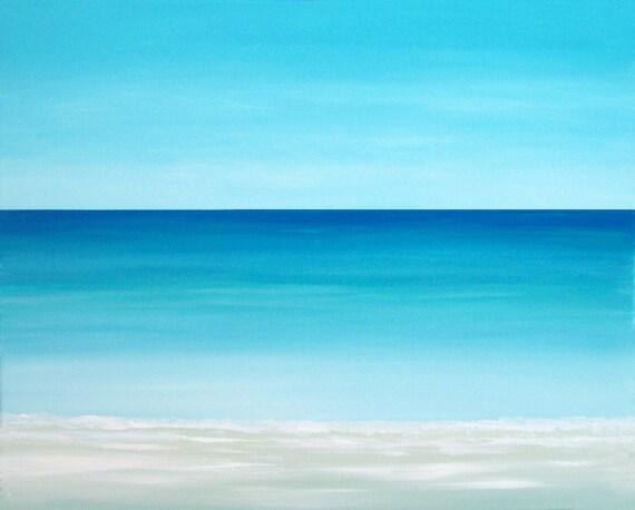 Beach Painting Modern Ocean Contemporary  Artwork Abstract Blue Tropical Caribbean Seascape Water