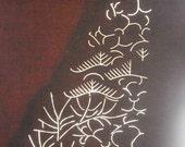 Vintage Japanese Stencil - Vintage Stencil -  Kimono Stencil - Katagami -  Leaves Trees Pine