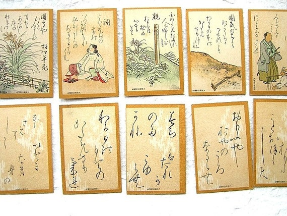 Vintage Japanese Game Cards  Uta-Garuta Set F