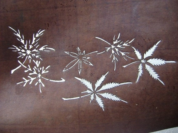 Vintage  Japanese Kimono Stencil  Katagami Showa Period Leaves