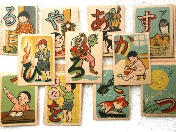 Vintage Japanese Card Game Uta-Garuta  1955 Smile Karuta
