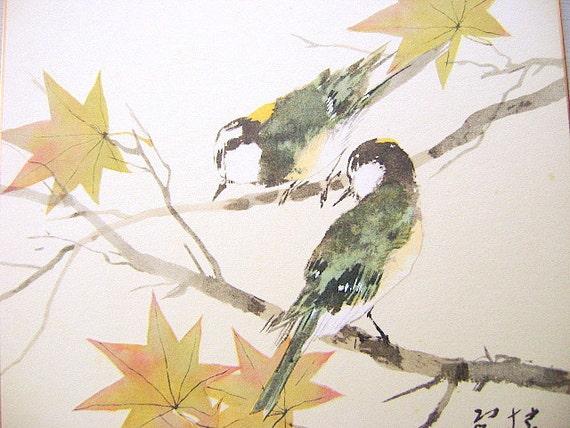 Vintage Japanese Painting  Sparrows Suzume Matsubayashi Keigetsu  Nihonga Style Showa Period