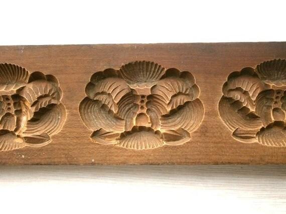 Vintage Japanese Kashigata Mold  Flowers Peony Botan