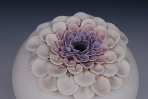 Pottery Sale, Vase, White Purple Pink , Use Coupon Code HOLIDAY20 at checkout for 20%  discount.