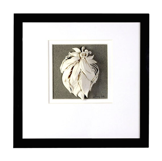 Ceramic art, 3-d Wall Decor,  White Pottery, Leaf, Vine , White,  Grey,  Black
