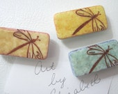 Magnets: Dragonfly, Inked, Handmade, Set of 3.