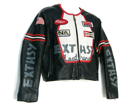 SALE - 90s EXTASY Leather Club Kid Moto Jacket