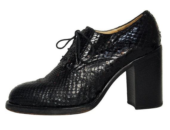 90s Platform Chunky Heel Black Snakeskin Lace Up Oxford Shoes Sz 9.5 10 Freelance Classics France