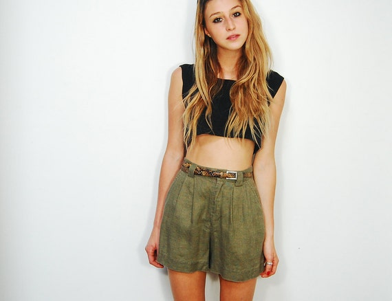 High Waisted Green Linen Shorts by GAP Size S