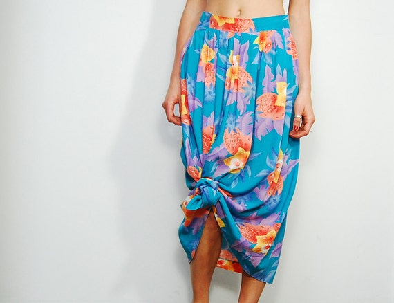 SALE - Tropical Floral Gathered Maxi Skirt Size S/M
