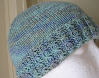 Womens Knitted Hat Varigated Blue Turquoise Hand Knit Cuffed Skull Cap