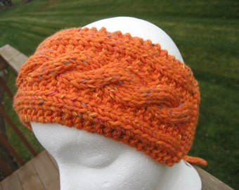 Womens Handknit Knitted Headband Head Band Ear Warmers Cuddle Cap from a vintage pattern