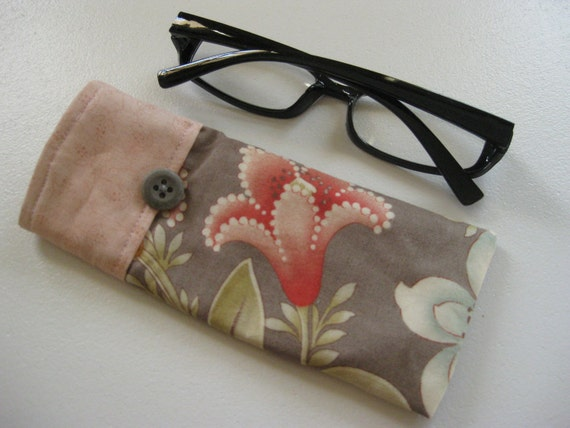 Reading Glasses Case in Peach, Rose and Khaki, small soft glasses sleeve