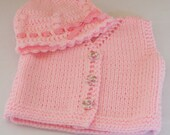 E Pattern Number 21  So Pretty Crocheted Baby  Beanie  and Knit Baby Sweater  0 - 3 - 6  -9 month INSTANT DOWNLOAD