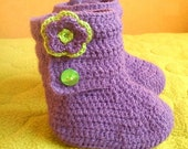 Crochet PATTERN (pdf file) Two sizes New born 0-3 months and Baby 3 - 6 months Pattern Number 28 - Baby Flower Ankle Boots INSTANT DOWNLOAD