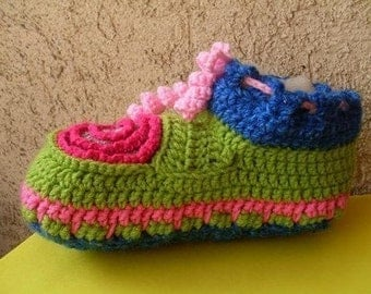 Ethnicdesign CROCHET Pattern, Number 14/ Slippers / Adult / Freeform / Multicolor Size 9 To 10 Included INSTANT DOWNLOAD