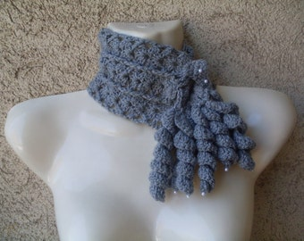Crochet Pattern Number 22  Christine Grey Freeform Crochet Scarf Cowl with white pearls INSTANT DOWNLOAD