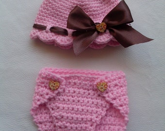 Sweett Girl Pattern Number 32 Lovely Diaper cover and Beanie  Crochet Set Pattern (2 Sizes Newborn and Baby ) INSTANT DOWNLOAD