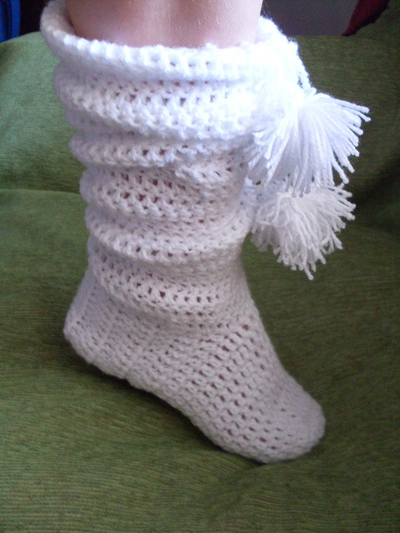 Crochet Pattern boots slippers Number 35  girls ladies women sizes ankle high, knee high with Pom Pom INSTANT DOWNLOAD