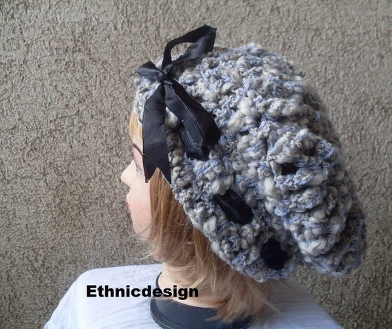 Free Shipping to USA  Hand Crocheted Hat - Gift for her - Gray Slouchy Hat w/ Black Ribbon Bow -  Ready to Ship