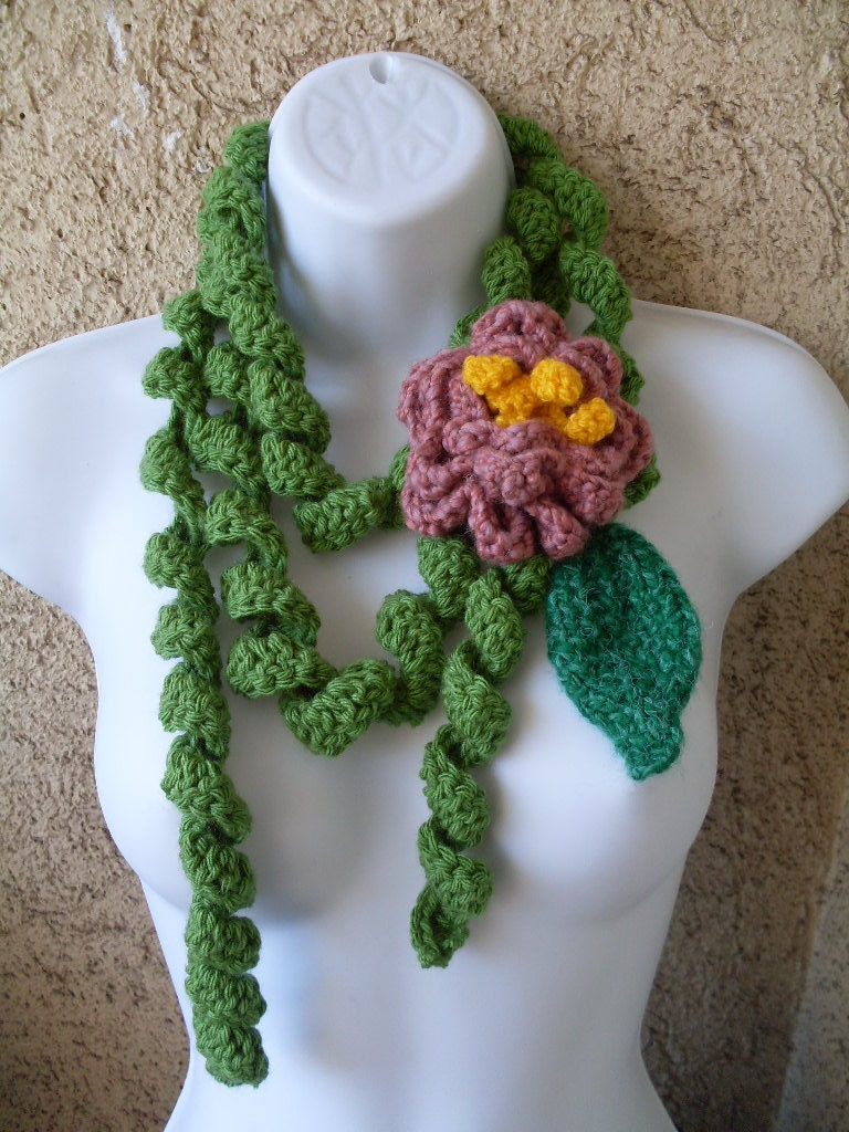 PATTERN pdf file 31 Crochet Green Curly Scarf Big Pink