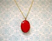 Gold Plated Vintage Red Pendant Necklace - Colette