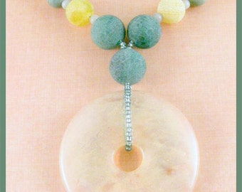 Pineapple Quartz Donut with Fire Agate, Turquoise and Amazonite Necklace