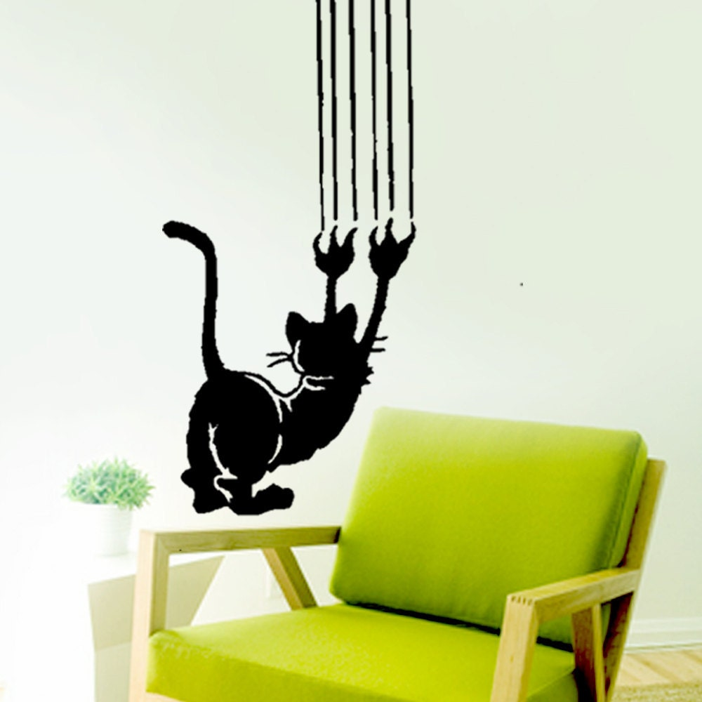 Crazy scratching cat vinyl wall decals home decor sticker zoom amipublicfo Gallery