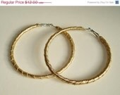 ON SALE Gold Leather Hoops -- Upcycled Eco Earrings