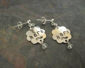 Sterling Silver Personalized Hand Stamped Flower Earrings