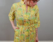 60's Lemon Lime Floral Cotton Springtime Dress, M