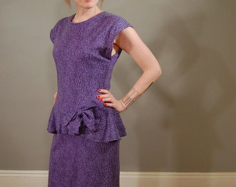 80's Purple and Black Peplum Jersey Dress, M
