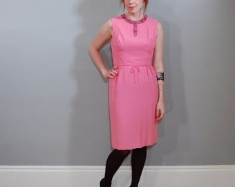 60's Bubblegum Beaded Dress, 38-28-40