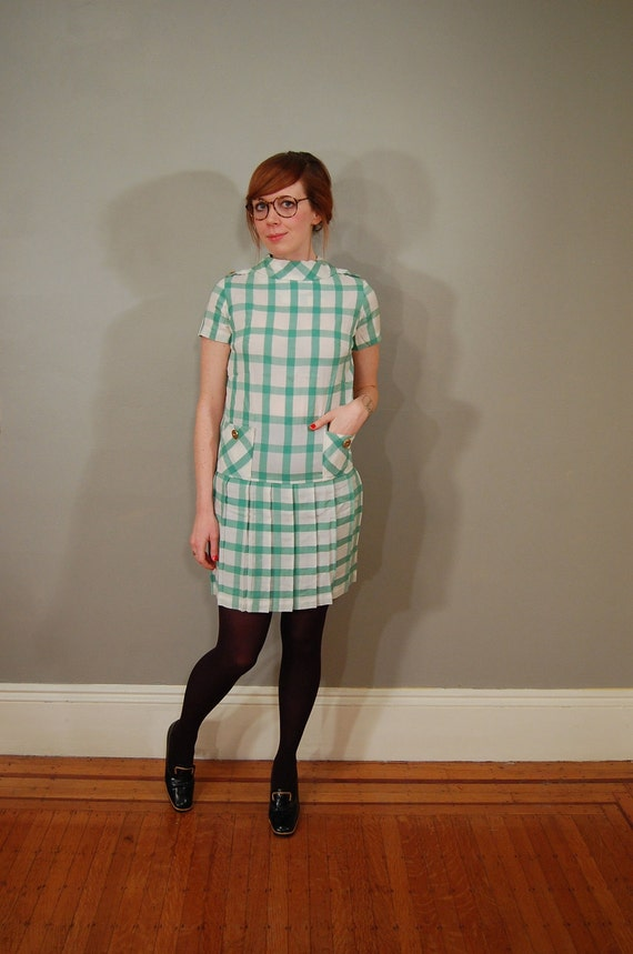 60's Lime Checkered Cotton Pockets Dress, S