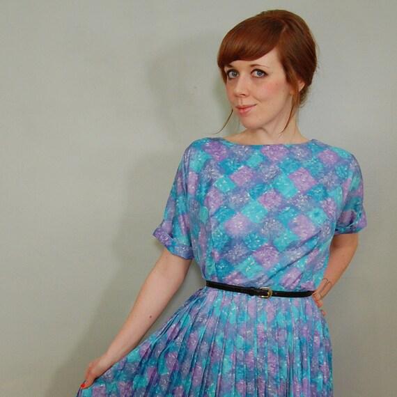 1960's Aqua and Lilac Day Dress, L/XL